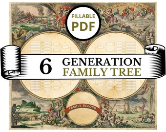 FILLABLE Family Tree Chart, 6 generations HUGE prints up to 5ft custom genealogy poster printable digital editable family heirloom gift idea
