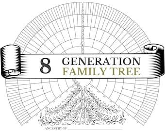 Blank 8 Generation Family Tree Fan Chart