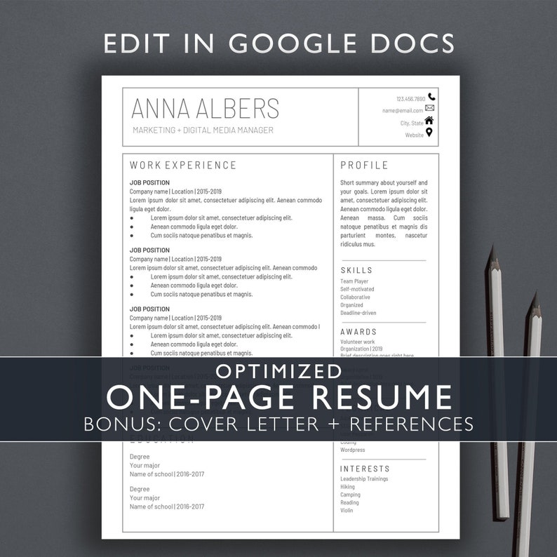 One-Page Resume /Google Docs Resume Template / Instant Download /  Professional Resume / Cover Letter / References / GOOGLE DOCS / Modern /AA