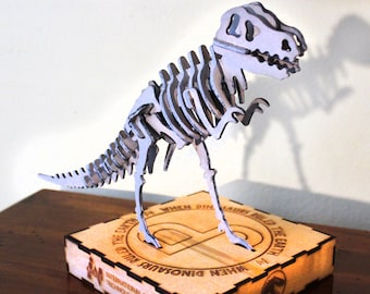 Jurassic Park Skeleton Puzzle and base - Wood Carved - T-Rex