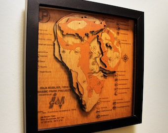 Jurassic Park Topographic Map - Wood Carved - Isla Nublar - Shadow Box