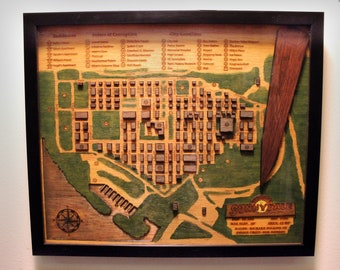 Buffy The Vampire Slayer - Town of Sunnydale - Wooden 3D Map - Shadow Box
