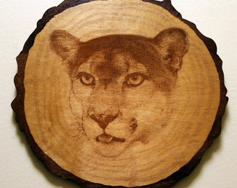 The Panther - Wood Carved - Laser Engraved