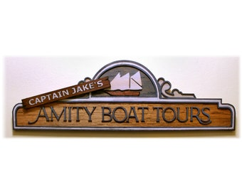 Captain Jake's Amity Boat Tours / Jaws The Ride - Wood Carved Sign
