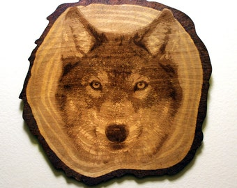 The Wolf - Wood Carved - Laser Engraved