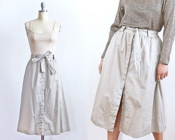 Khaki Button Front Midi Skirt | Safari Minimal Ba… - image 1