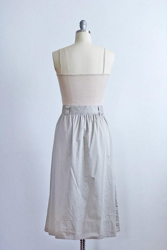 Khaki Button Front Midi Skirt | Safari Minimal Ba… - image 3
