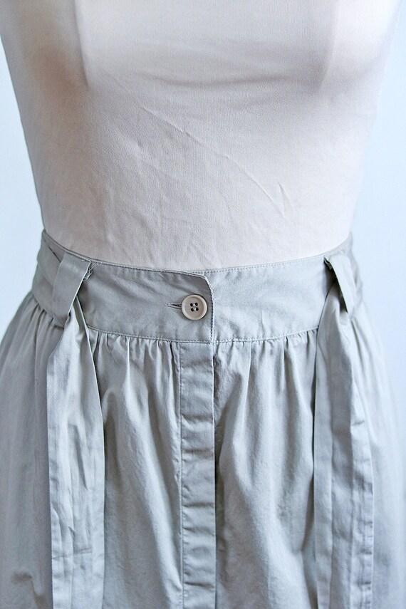 Khaki Button Front Midi Skirt | Safari Minimal Ba… - image 4