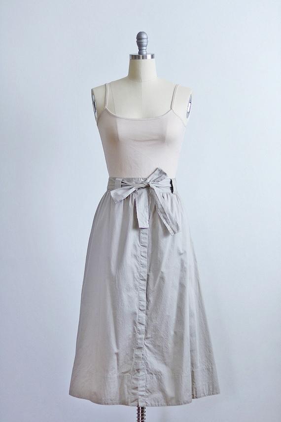 Khaki Button Front Midi Skirt | Safari Minimal Ba… - image 2