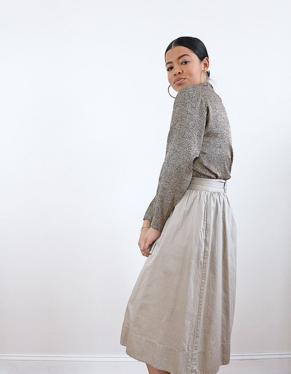 Khaki Button Front Midi Skirt | Safari Minimal Ba… - image 6