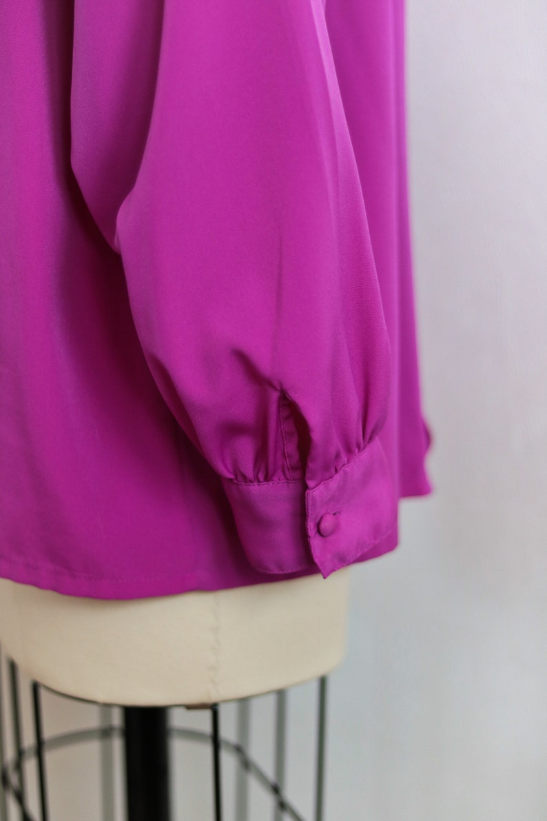Vintage Orchid Purple Long Sleeve Button Up Embroidered Blouse Size 16 L