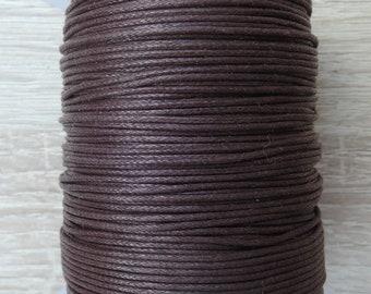 1 mm Round Dark Brown Waxed Cotton Cord