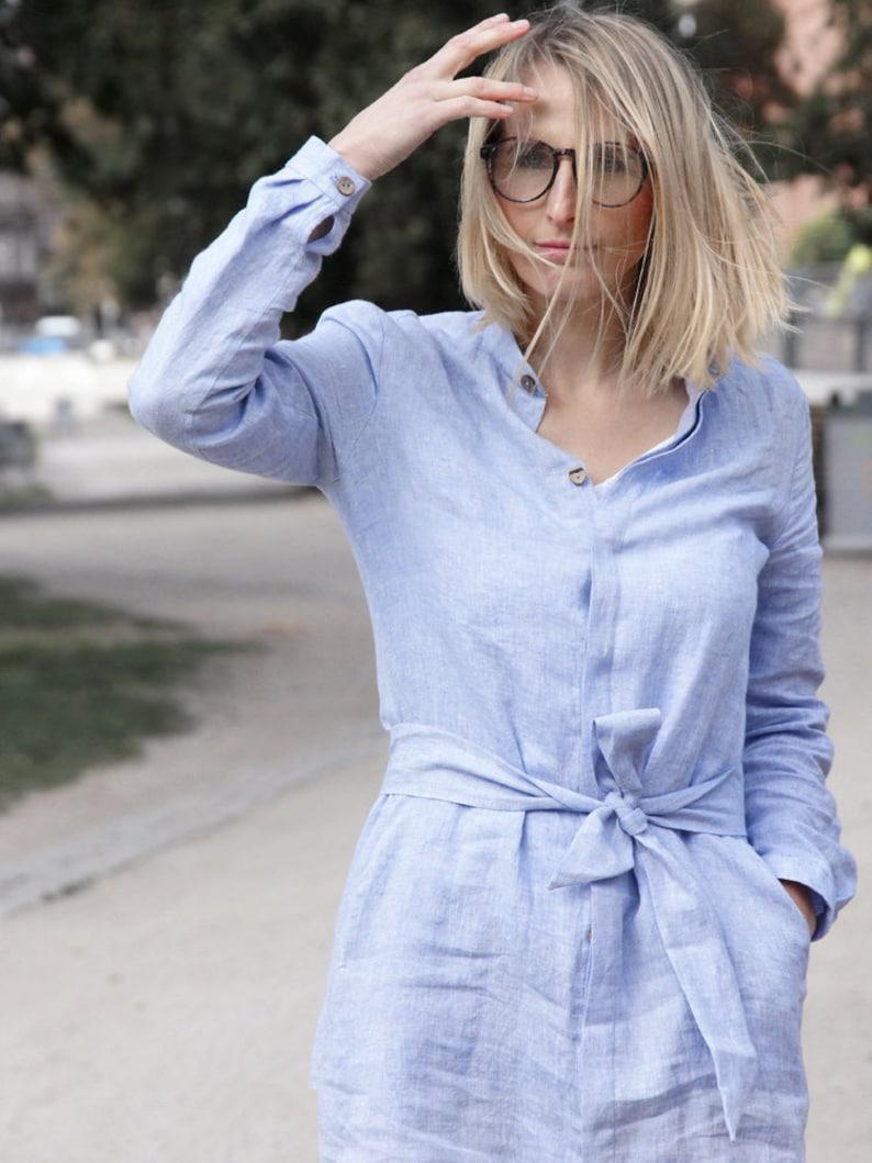 Lightweight Coat Buttoned dress Midi length linen dress Fall Dress Linen Clothing Light Dress Linen Dress Long shirt, Linen