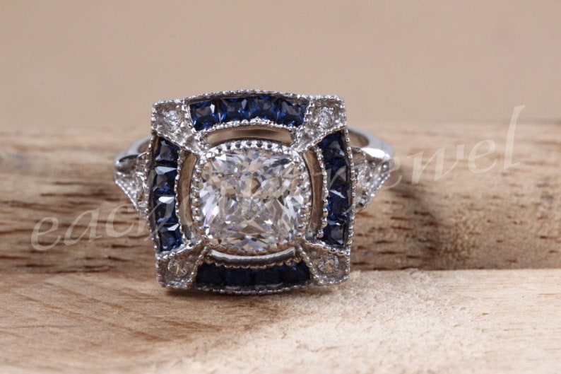 2.21 Ct Round Cut Solitaire Ring,925 Sterling Silver Ring,Designer Ring,Blue Princess Studded Ring,Vintage Ring,Gift For Her.