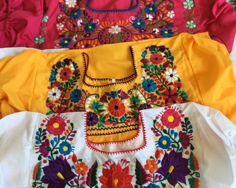 Plus Size Embroidered Blouse 2x Colorful Floral Mexican Blouse Hippie-Boho Free Shipping. 34 Sleeve Blouse