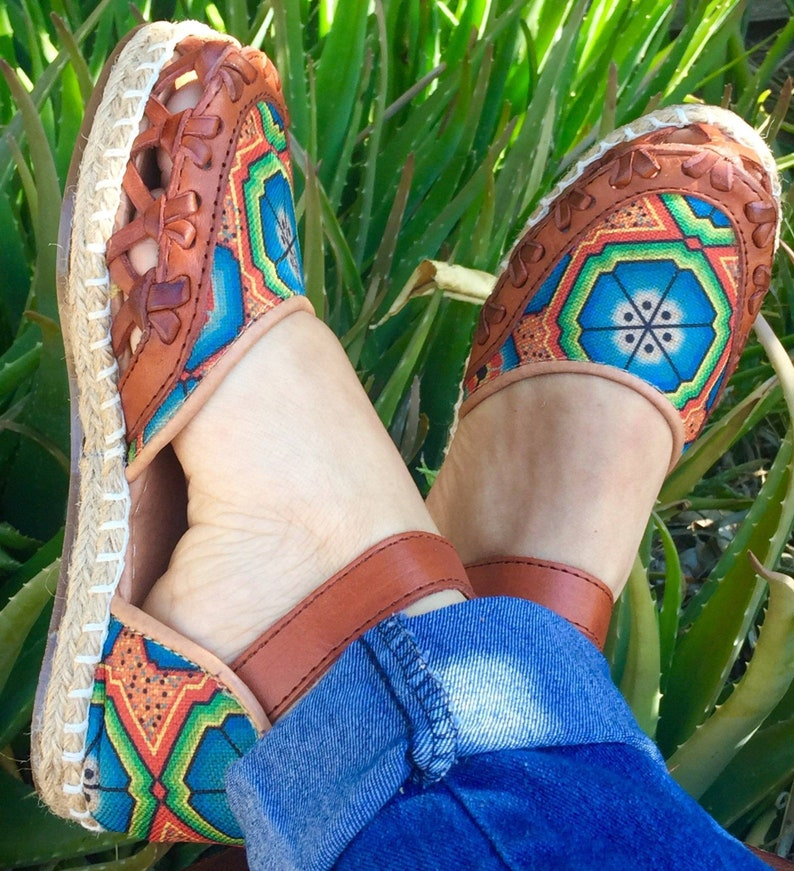 Mexican Leather Huaraches Espadrilles Huichol Art Textil Mexican style boho hippie shoes ALL SIZES 6-7-8-9-10US