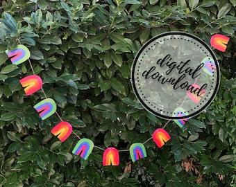 Rainbow Garland DIY | St. Patrick's Day, Easter, Spring, LGBTQ Pride Paper Bunting Banner Flag | Digital Download