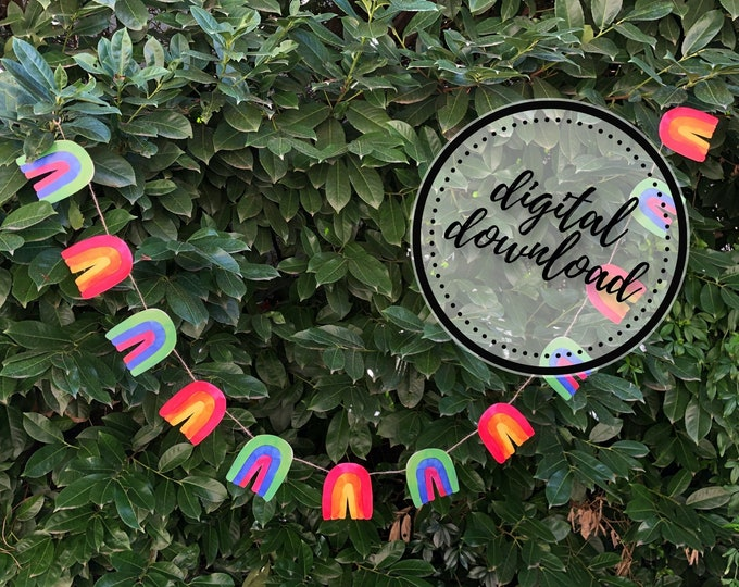 Rainbow Garland DIY | St. Patrick's Day, Easter, Spring, LGBTQ Pride Paper Bunting Banner Flag | Digital Download