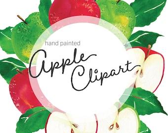 Watercolor Apple Clipart, red apple, green apple clip art, fruit png, teacher appreciation clip art, printable digital download