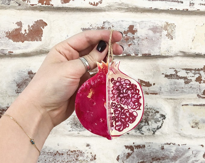 Christmas Ornament DIY Paper Kit Pomegranate Fruit