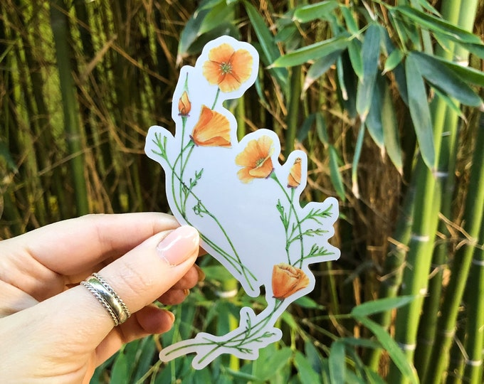 Floral Poppies Sticker | California state poppy flower | clear vinyl decal for cars, computers, and water bottles