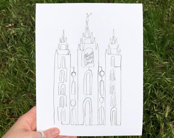 Digital Download: Grey Salt Lake City LDS Temple Continuous Line Art Print