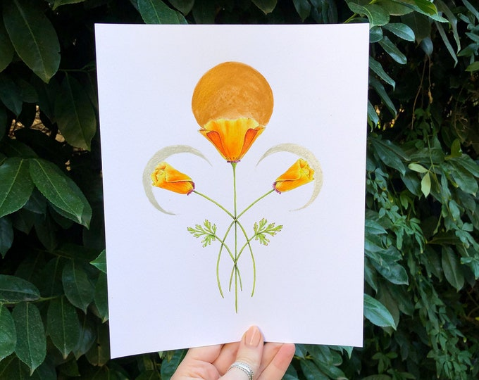 California Poppy Flower, Sun and Moon Phases Wall Art Print with Gold and Silver Metallic Details