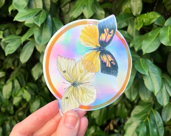 Holographic Sticker California Dogface Butterfly | nature inspired clear vinyl decal for cars, phone cases, computers, and water bottles