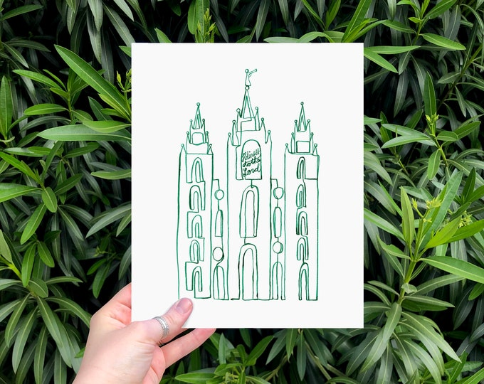 Salt Lake City LDS Temple Continuous Line Art, Minimal, Simple, in Emerald Green | Digital Download