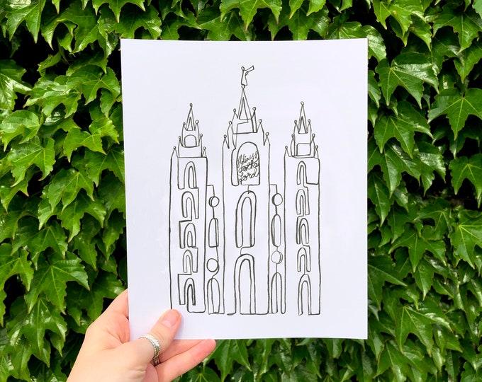Digital Download: Black Salt Lake City LDS Temple Continuous Line Art Print