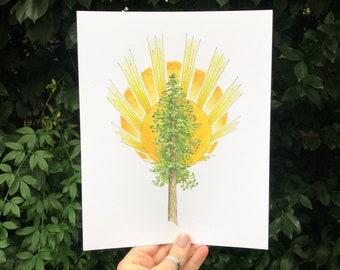 Ponderosa Pine Tree and Sunburst Art Print, inspired by Paradise, California | watercolor boho tree lover wall art decor