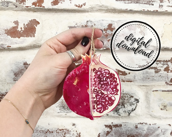 Christmas Ornament DIY Printable Paper Pomegranate Fruit | Digital Download