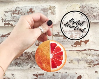 Christmas Ornament DIY Printable Paper Orange Citrus Fruit | Digital Download
