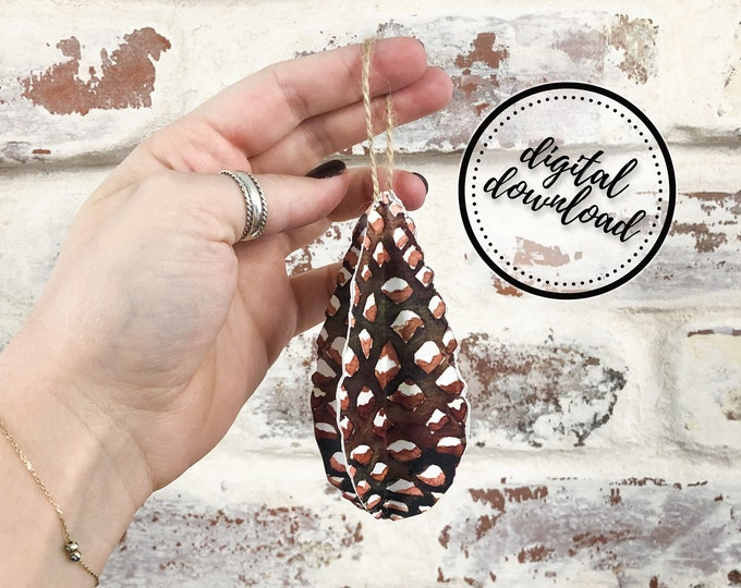 Christmas Ornament DIY Printable Paper Pinecone | Digital Download