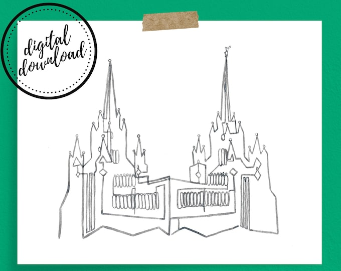 San Diego LDS Temple Continuous Line Art Print in Grey | Digital Download