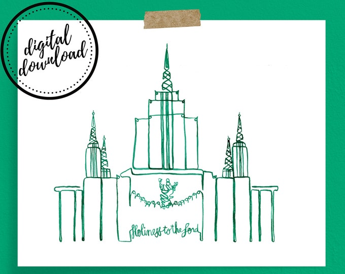 Digital Download: Emerald Oakland LDS Temple Continuous Line Art Print