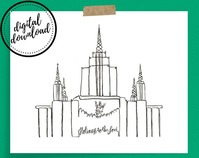 Oakland LDS Temple Continuous Line Art Print in Black | Digital Download