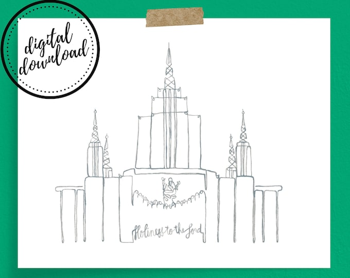 Oakland LDS Temple Continuous Line Art Print in Grey | Digital Download