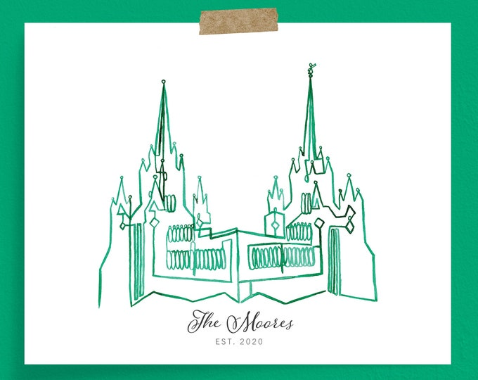 San Diego California LDS Temple Continuous Line Art Print | Customizable