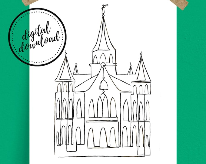 Digital Download: Black Provo City Center LDS Temple Continuous Line Art Print