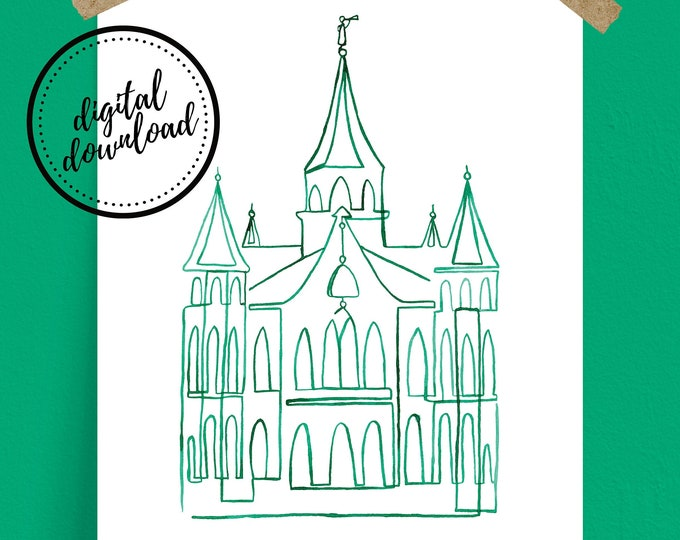 Provo City Center LDS Temple Continuous Line Art, Minimal, Simple, Print in Emerald Green | Digital Download
