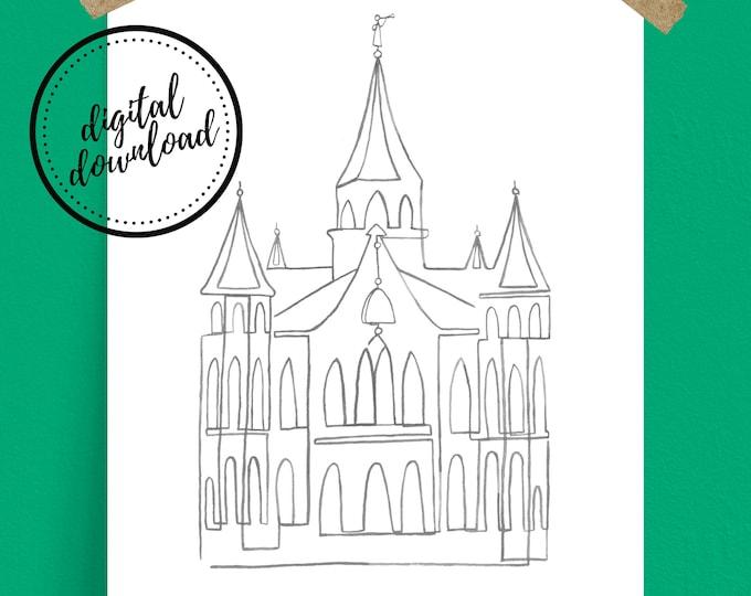 Digital Download: Grey Provo City Center LDS Temple Continuous Line Art Print