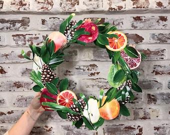 Thanksgiving Wreath DIY Paper Kit | Orange Citrus, Pear, Pomegranate, Fruit Medley, Christmas Winter Decoration