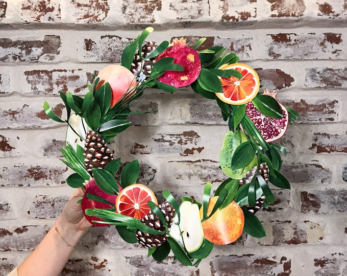 Winter Wreath DIY Paper Kit | Orange Citrus, Pear, Pomegranate, Fruit Medley