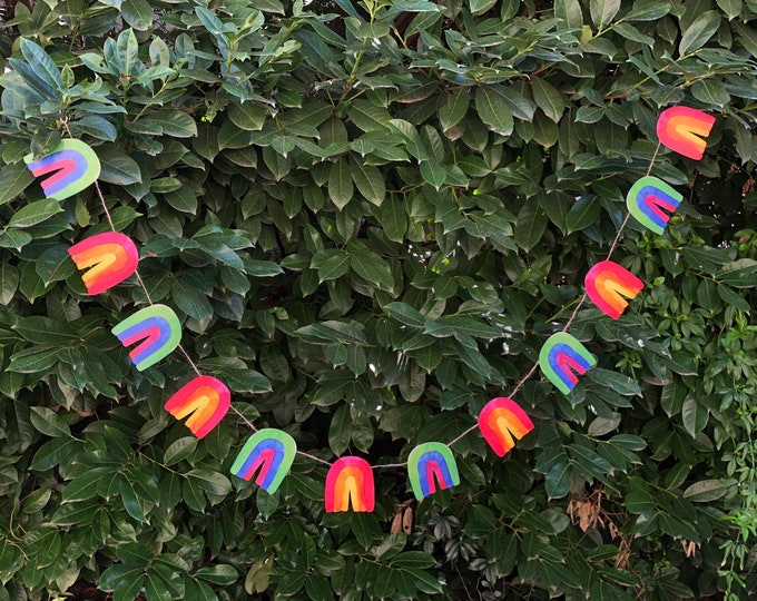 Rainbow Garland DIY | St. Patrick's Day, Easter, Spring, LGBTQ Pride Paper Bunting Banner Flag