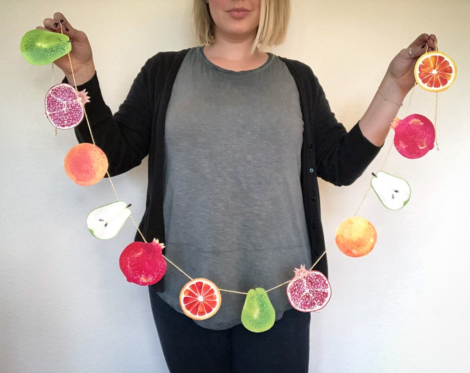 Winter Garland DIY Paper | Orange Citrus Fruit, Pear, Pomegranate, Fruit Medley
