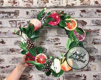 Thanksgiving Wreath DIY Paper Kit | Orange Citrus, Pear, Pomegranate, Fruit Medley, Christmas Winter Decoration | DIGITAL DOWNLOAD