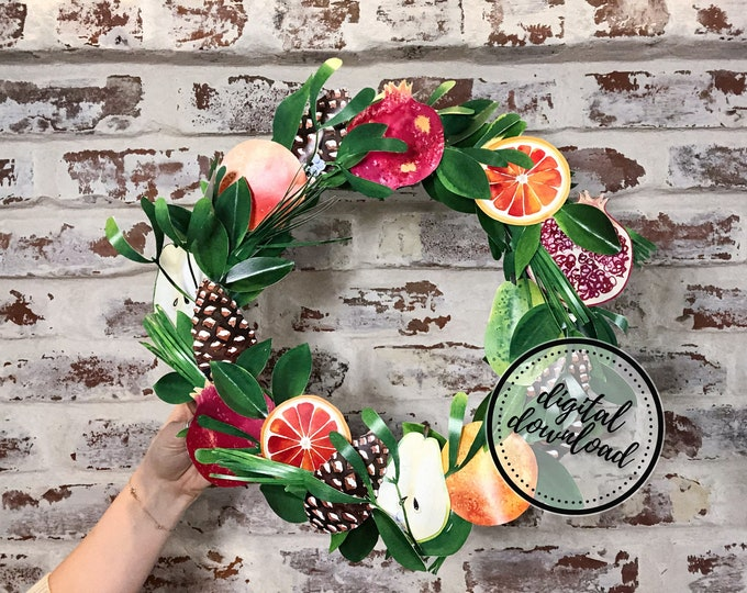 Winter Wreath DIY Paper Kit | Orange Citrus, Pear, Pomegranate, Fruit Medley | Digital Download