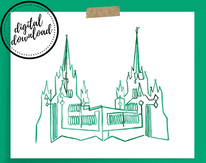 San Diego LDS Temple Continuous Line Art Print in Emerald Green | Digital Download