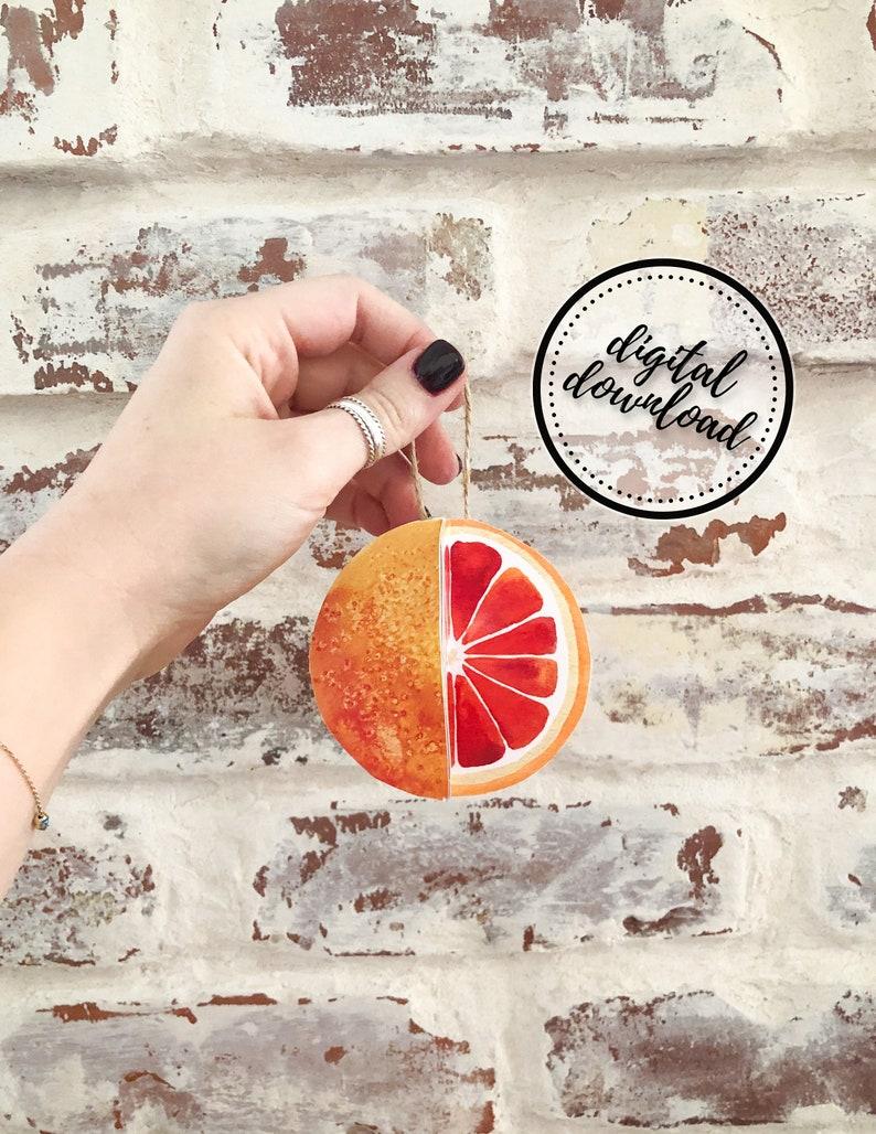 Christmas Ornament DIY Printable Paper Orange Citrus Fruit  image 0